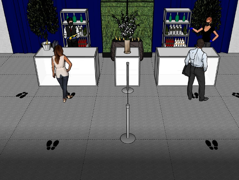 3d rendering of a bar area with socially distanced design