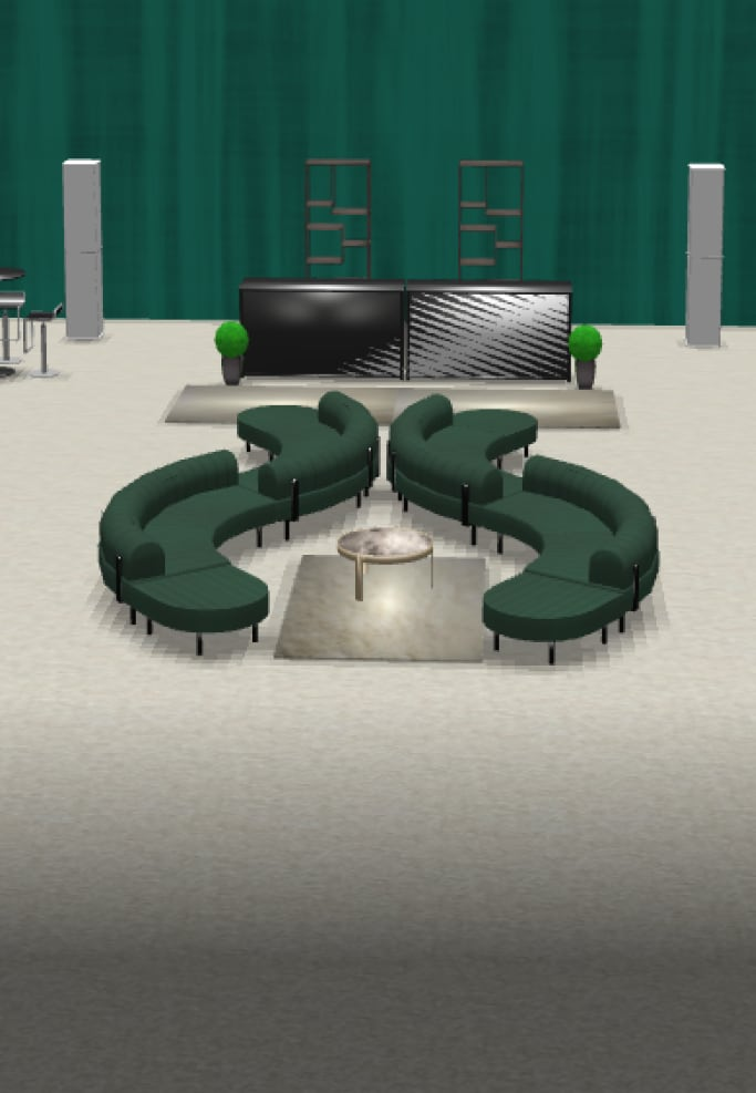 3d rendering of an event with green drape and rental furniture